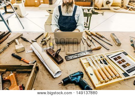 Carpenter Craftsman Handicraft Wooden Workshop Concept