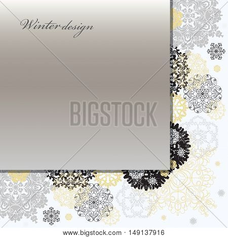 Winter silver abstract design with gold and white snowflakes and stars and silver background. Trend golden design. Corner, angle border stripe and text place. Silver vintage vector illustration.
