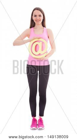 Athletic girl holding at sign. All on white background