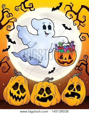 Halloween theme with floating ghost - eps10 vector illustration.