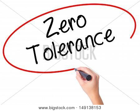 Women Hand Writing Zero Tolerance With Black Marker On Visual Screen