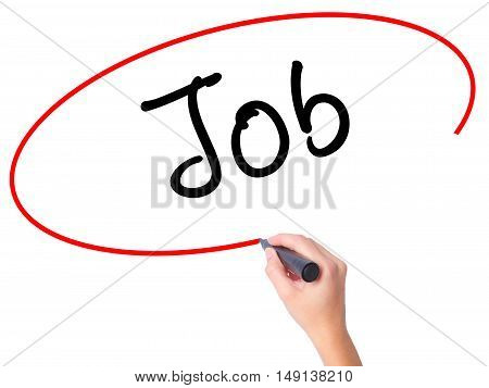 Women Hand Writing Job With Marker On Transparent Wipe Board