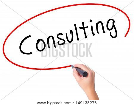 Women Hand Writing Consulting With Black Marker On Visual Screen