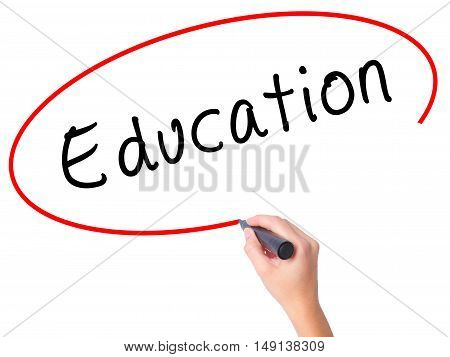 Women Hand Writing Education With Black Marker On Visual Screen