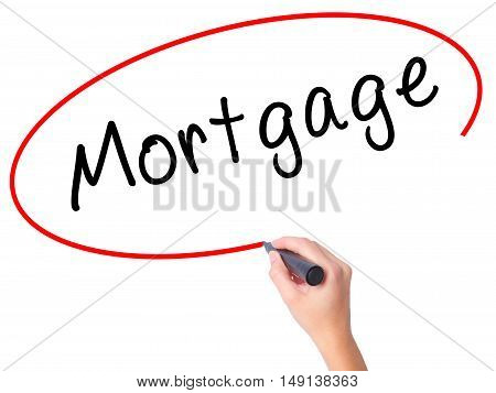 Women Hand Writing Mortgage With Black Marker On Visual Screen
