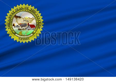 Flag of Nevada state in the Western of United States. 3D illustration