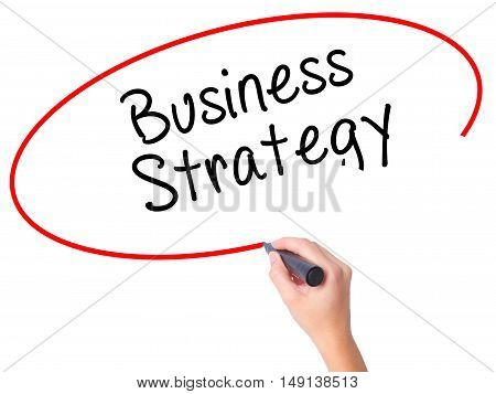 Women Hand Writing Business Strategy With Black Marker On Visual Screen