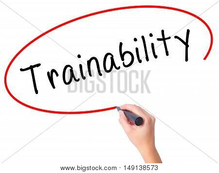 Women Hand Writing Trainability With Black Marker On Visual Screen