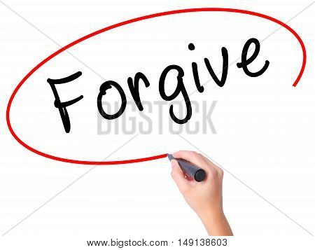 Women Hand Writing Forgive With Black Marker On Visual Screen