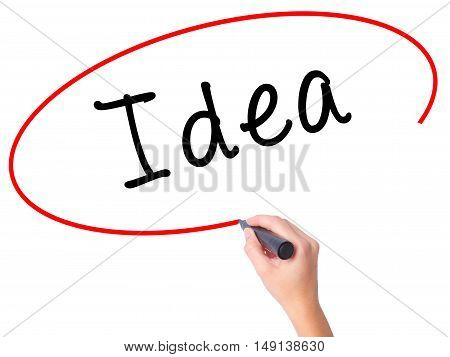 Women Hand Writing Idea With Black Marker On Visual Screen
