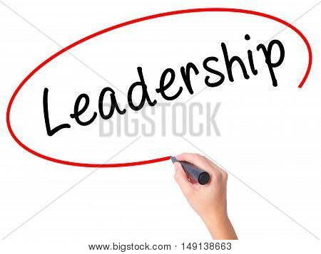 Women Hand Writing Leadership With Black Marker On Visual Screen