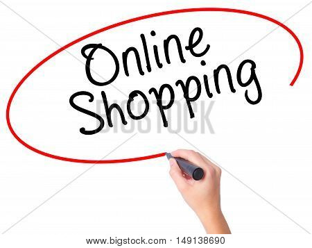 Women Hand Writing Online Shopping With Black Marker On Visual Screen