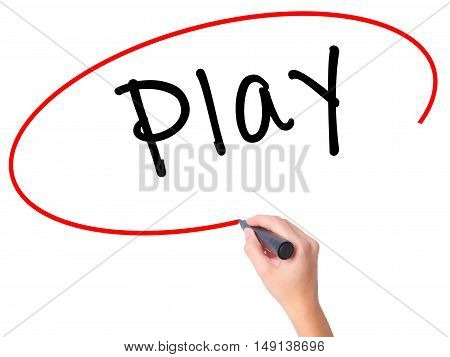 Women Hand Writing Play With Black Marker On Visual Screen