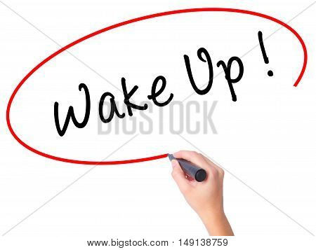Women Hand Writing Wake Up With Black Marker On Visual Screen