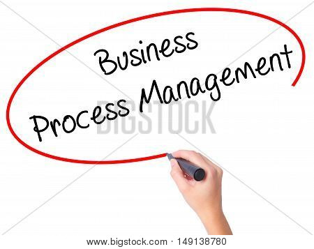 Women Hand Writing Business Process Management With Black Marker On Visual Screen