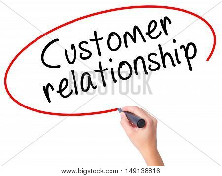Women Hand Writing Customer Relationship With Black Marker On Visual Screen