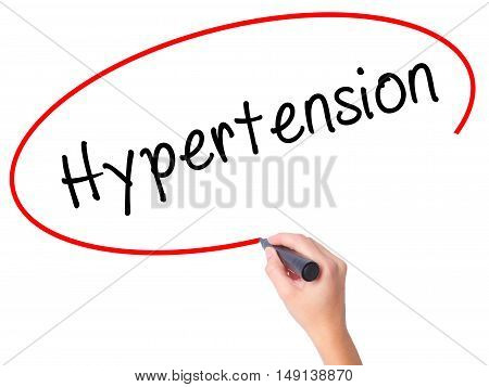 Women Hand Writing Hypertension With Black Marker On Visual Screen