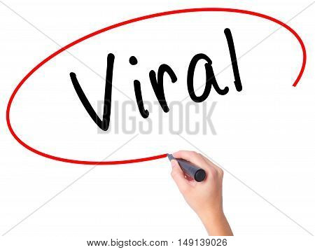 Women Hand Writing Viral With Black Marker On Visual Screen