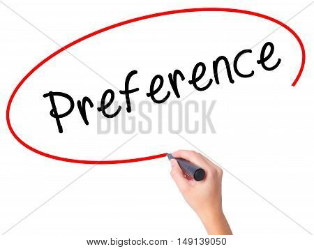 Women Hand Writing Preference With Black Marker On Visual Screen