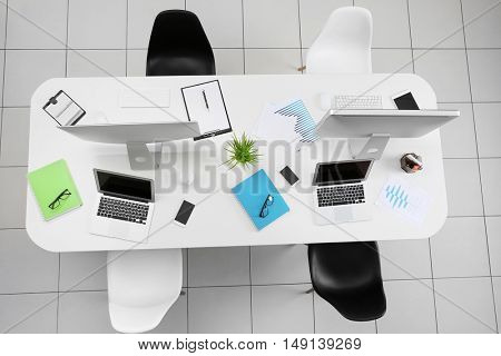 Office table with chairs, top view