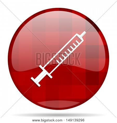 medicine red round glossy modern design web icon
