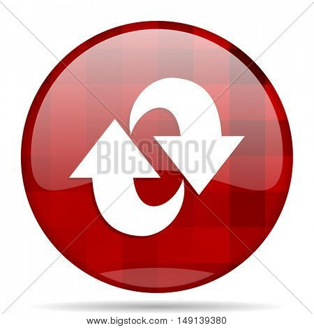 rotation red round glossy modern design web icon