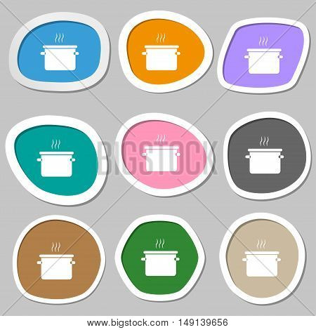 Pan Cooking Icon Symbols. Multicolored Paper Stickers. Vector