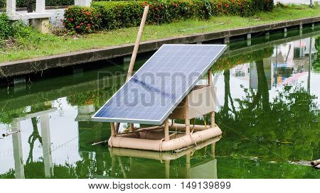 Solar panels on the water to help provide clean water mill.