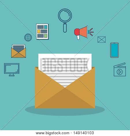 icon email message social network with icons media vector illustration