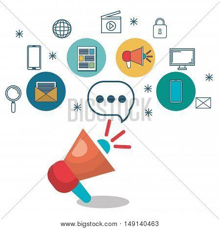megaphone speaker talk message social network vector illustration