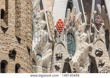 Barcelona Spain - August 17 2016: Close view on part of the Sagrada Familia.
