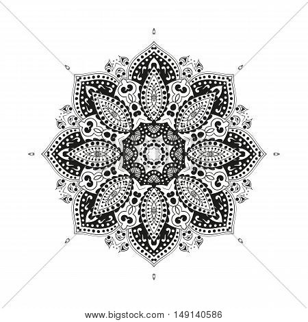 Vector illustration Coloring for adults in the style of boho, mandala background. Floral Geometric outline drawing. Circular ornament point line.