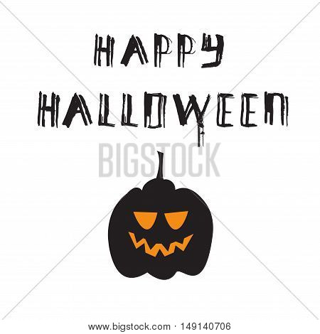 Halloween poster with grunge modern typographic and pumpkin brush calligraphy and hand drawn lettering. Vector isolated.