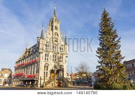 City hall in Gouda during the Christmas, the Netherlands
