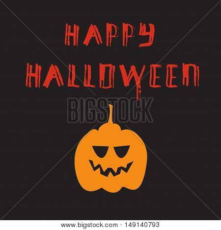 Halloween poster with grunge modern typographic, brush calligraphy and pumpkin. Vector illustration.