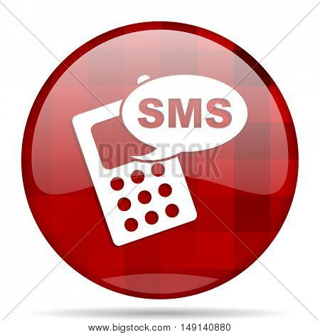 sms red round glossy modern design web icon