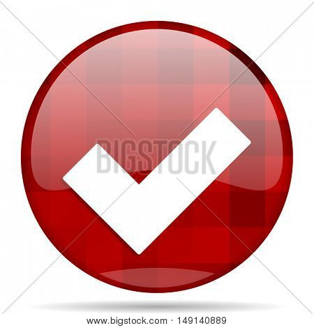 accept red round glossy modern design web icon