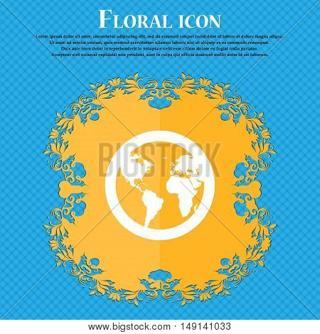 Globe Icon Sign. Floral Flat Design On A Blue Abstract Background With Place For Your Text. Vector