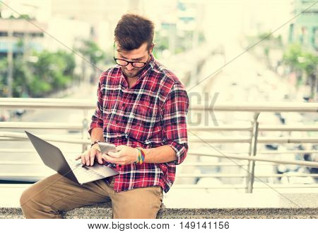 Young Man Using Browsing Smart phone Concept