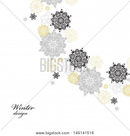 Winter silver circle corner background with gold and white snowflakes and stars and light background. Round frame silver design. Vector illustration.