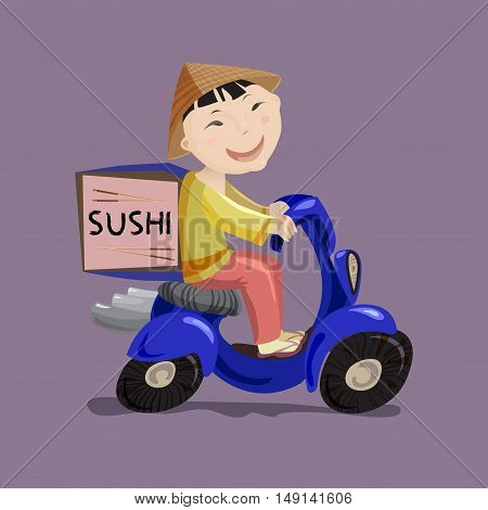 Sushi or China food delivery concept. Cartoon character japanese boy riding on scooter or motorcycle, delivering fast food. Asian restaurant service. Vector illustration stock vector.
