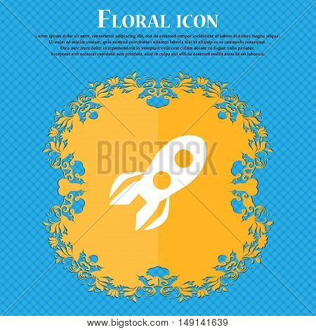 Rocket Icon Sign. Floral Flat Design On A Blue Abstract Background With Place For Your Text. Vector
