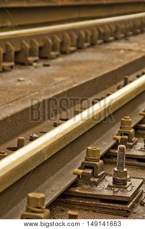 Angle shot of a railway. Transportation concept.