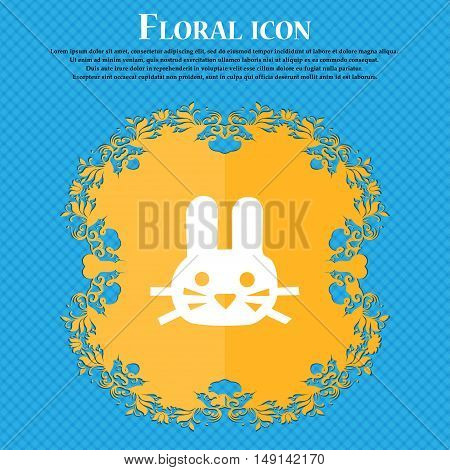 Rabbit Icon Sign. Floral Flat Design On A Blue Abstract Background With Place For Your Text. Vector