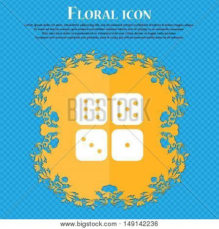 Dices Icon Sign. Floral Flat Design On A Blue Abstract Background With Place For Your Text. Vector