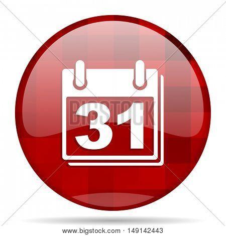 calendar red round glossy modern design web icon