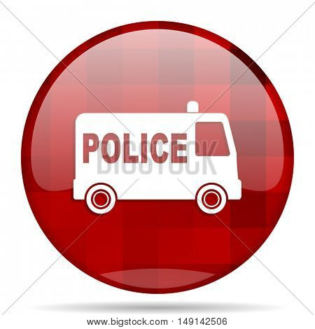 police red round glossy modern design web icon
