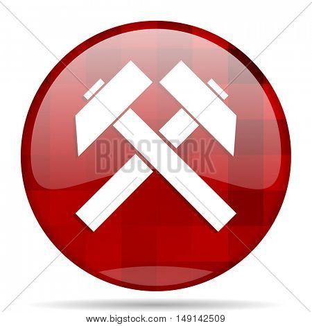 mining red round glossy modern design web icon