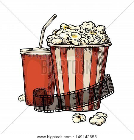 Popcorn cup for beverages with straw and film strip. Vintage vector engraving illustration. Isolated on white background.