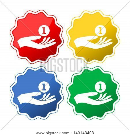 Donation hand sign icon button set on white background